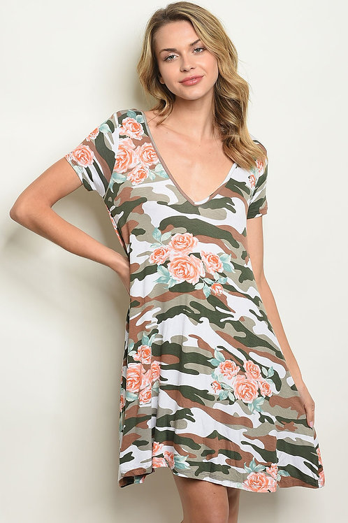 Camouflage With Flower Dress