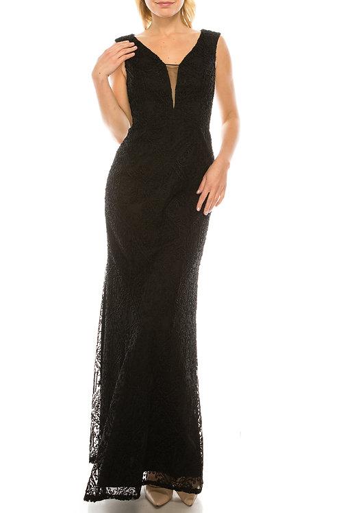 Aidan Mattox Black Soutache Diamond Patterned Column Evening Dress