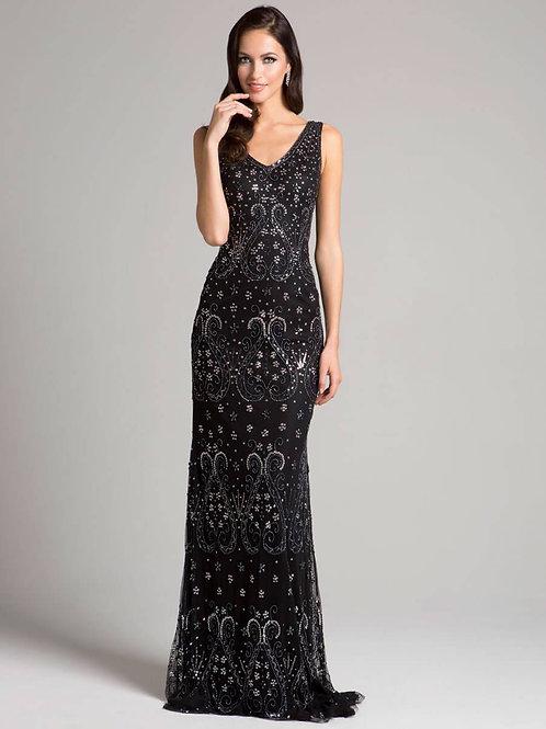 Lara V-Neckline Cascading Patterned Beads Full Length Mesh Dress
