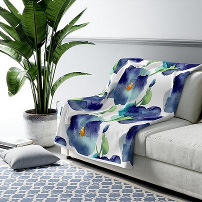 Blue Petunia Sherpa Fleece Blanket