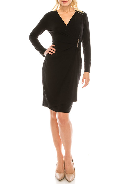 London Times Black Crepe Jersey Faux Wrap Dress with Waist