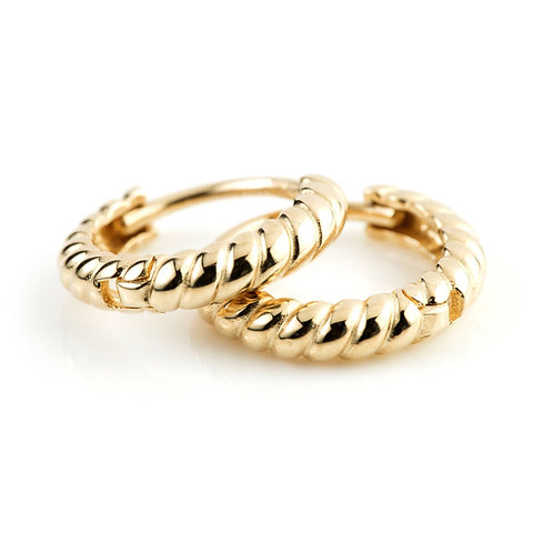 9ct Gold Rope Cartilage Huggie Earring