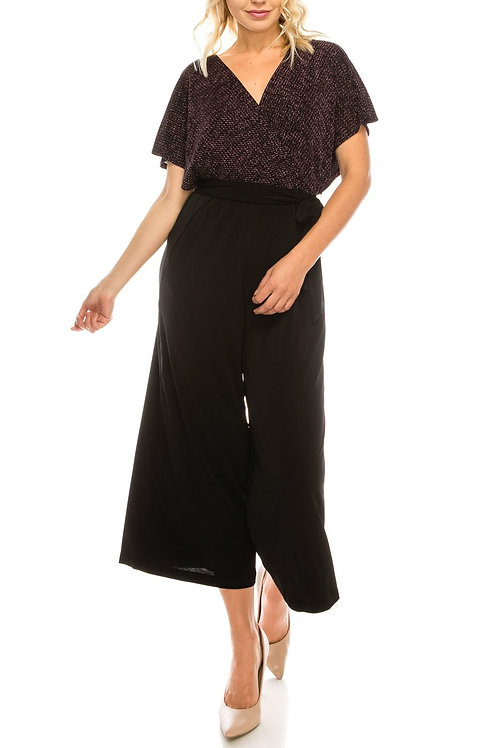 London Times Metallic Belted Culotte Jumpsuit