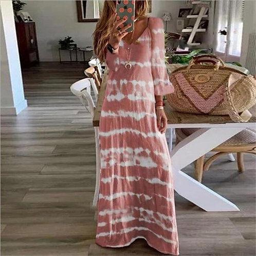 Women Casual Dress Patchwork Long Sleeve Dress