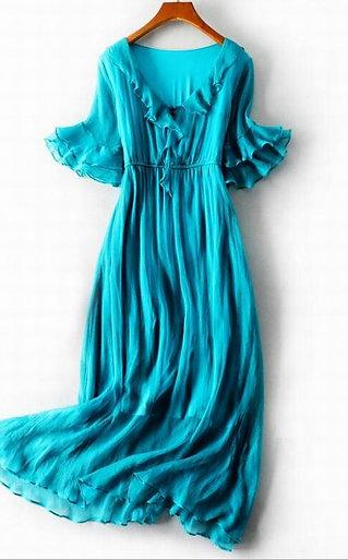 100% Natural Silk Ruffles Dress