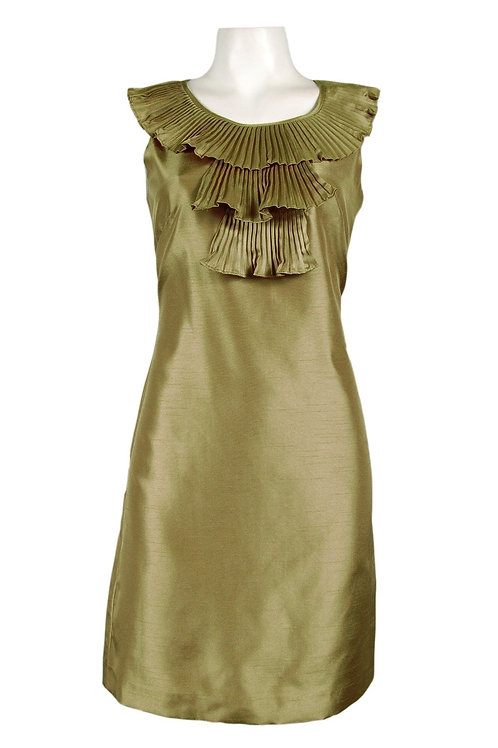 Ellen Tracy Olive Shantung Sheath Dress with Pleated Ruffles