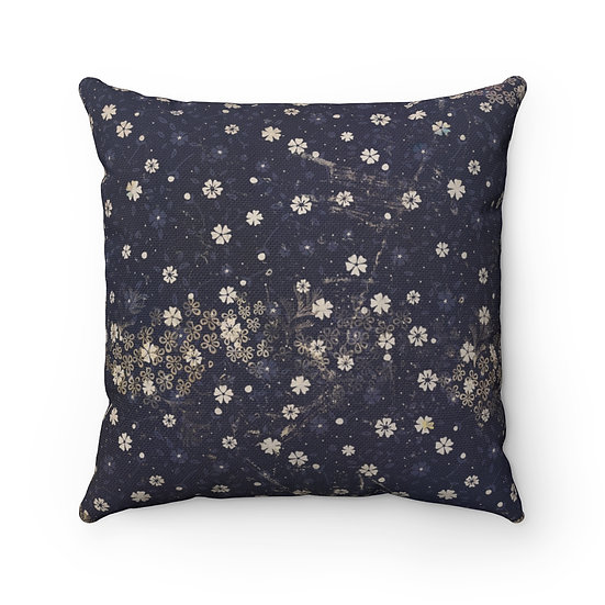 Navy Blue with Tiny Flowers Spun Polyester Square Pillow