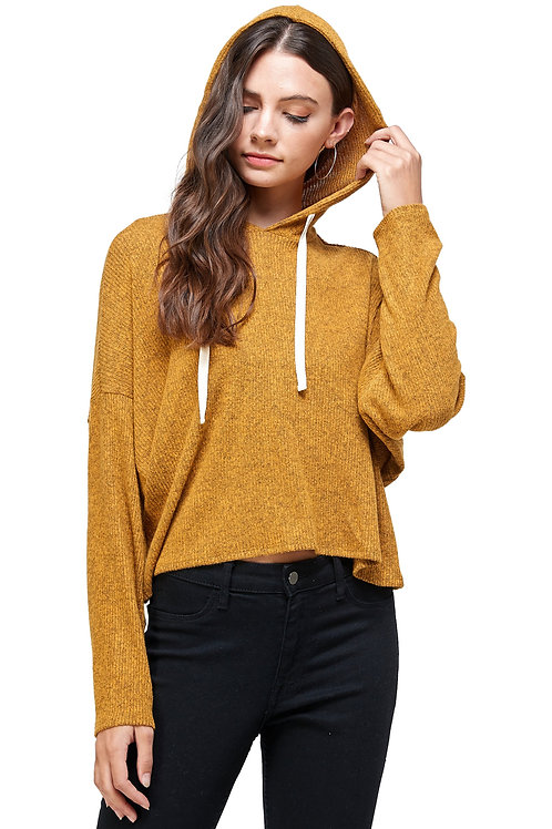 BRUSHED TWO TONE SWEATER RIB HOODED TOP