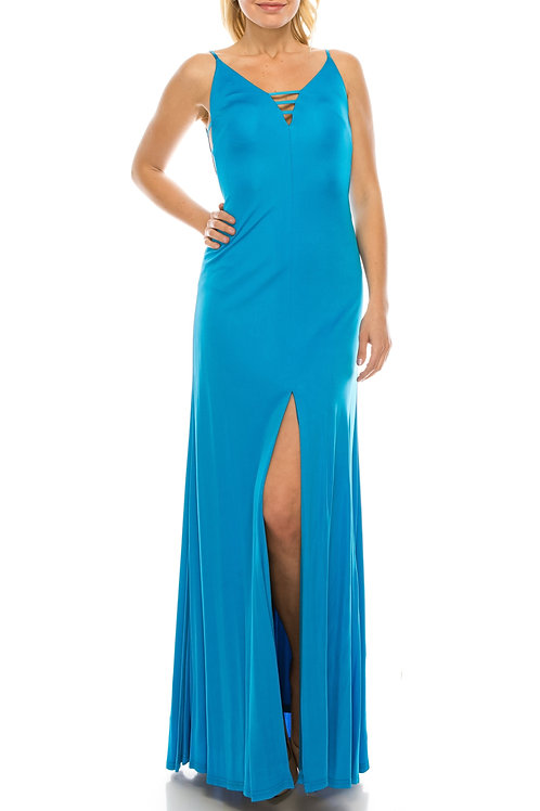 Aidan Mattox Electric Blue Strappy & Plunging Evening Dress