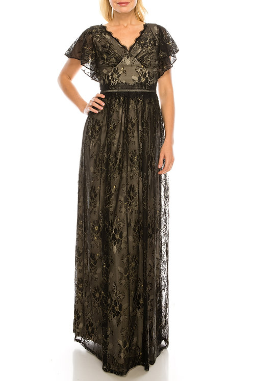 Adrianna Papell Black Gold Lace A-Line Evening Dress