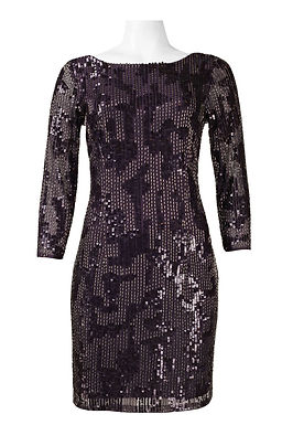 Adrianna Papell 3/4 Sleeve Sequin and Bead Embellishment Mesh Cocktail
