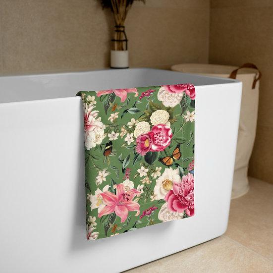 Moss Green Antique Floral Towel