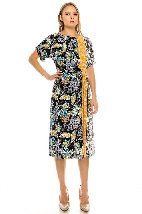 London Times Floral Paisley Printed Gathered Waist Dress