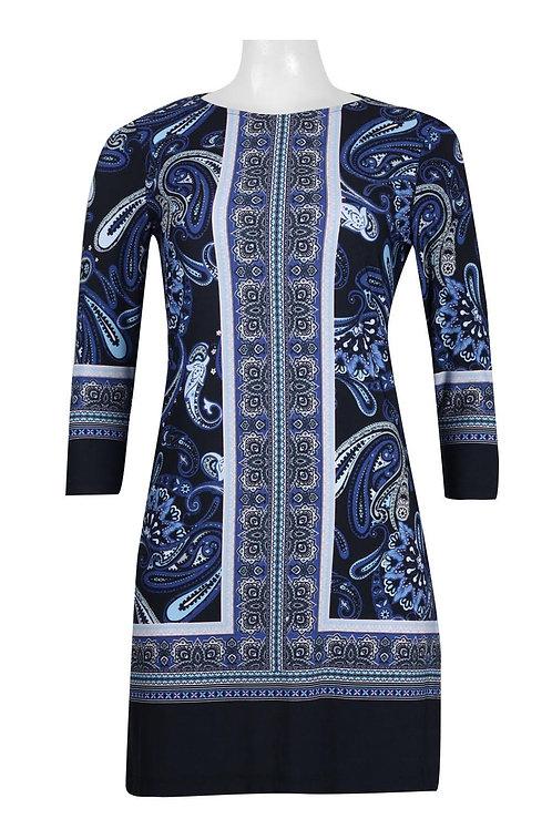 Donna Morgan Crew Neck Long Sleeve Multi Print Jersey Dress (Petite)