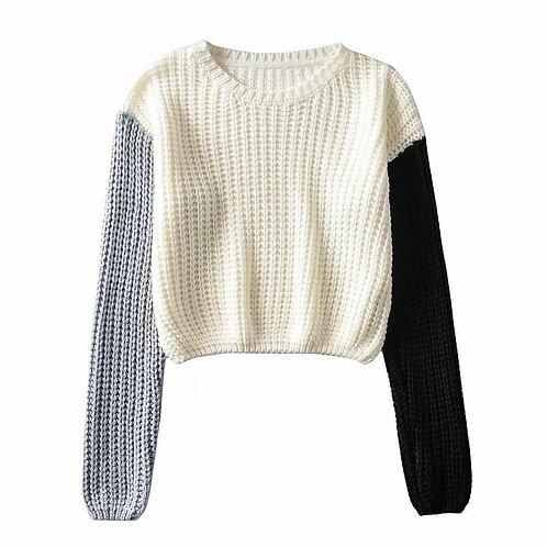 autumn winter patchwork color longsleeve knitwear