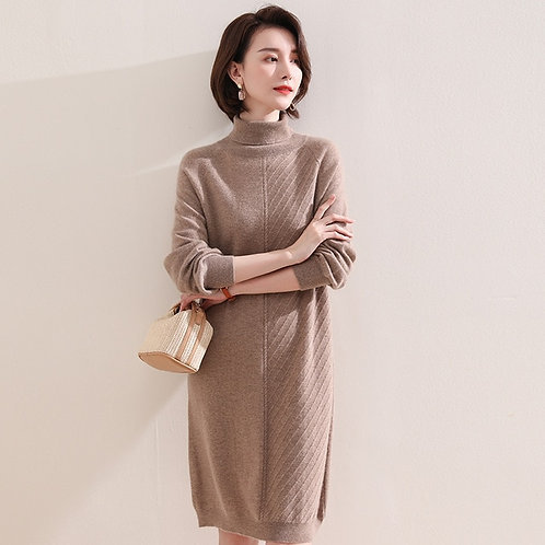 Top grade 100% Pashmina Knitted Sweater Dress