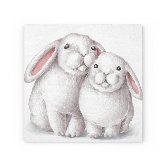Bunny Love Wood Canvas