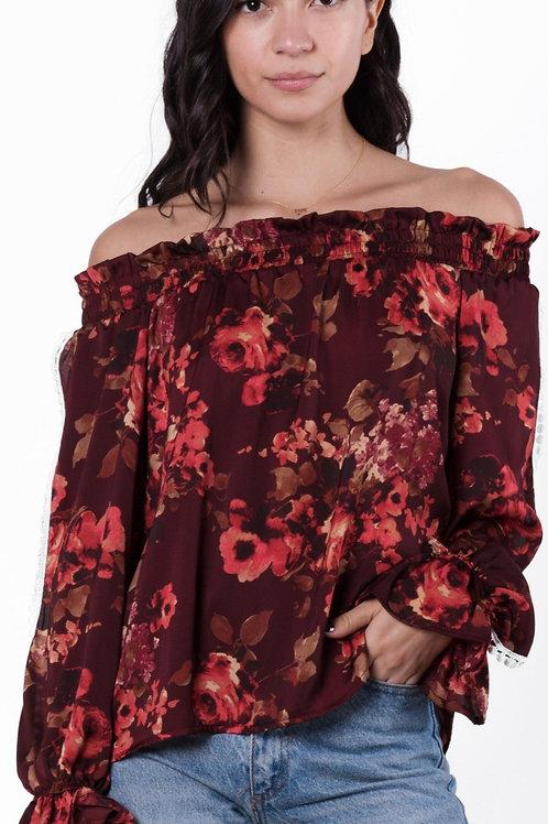 Almeria Off Shoulder Smocked Floral Blouse