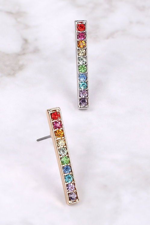 26348 - Rainbow Bar Shape Rhinestone Earrings