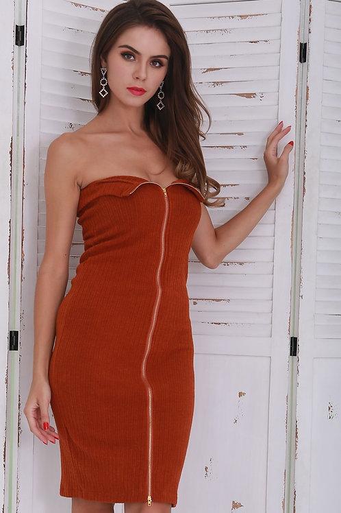 Brown Knit Zip Dress