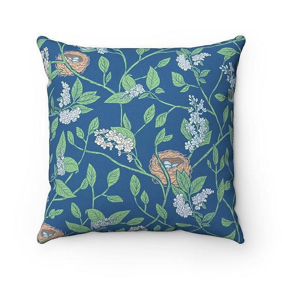 European Floral Blue Spun Polyester Square Pillow