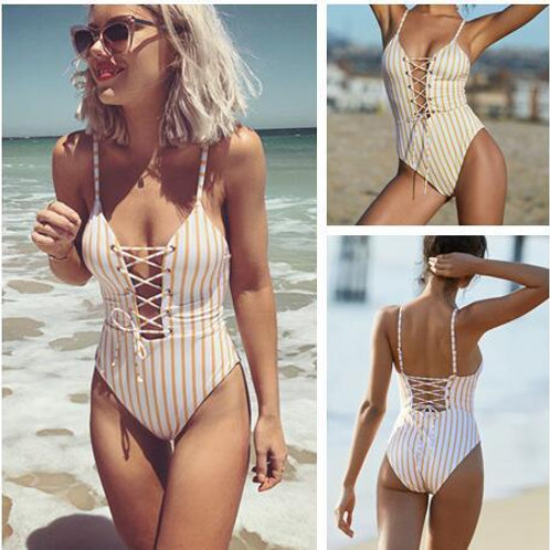Striped front Laced One Piece Swimsuit