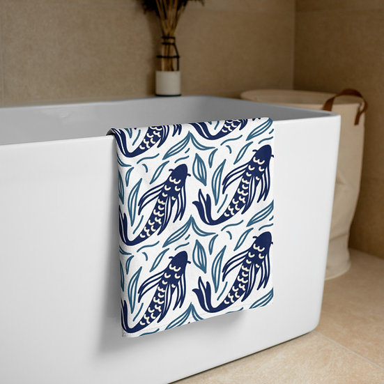 Japanese Fish Design Towel