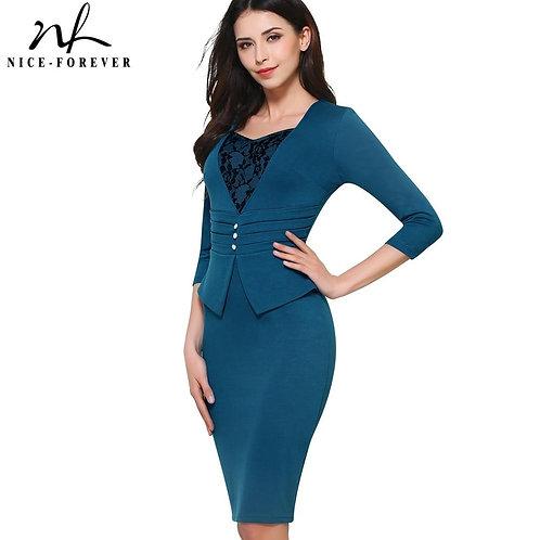 Vintage Brief Elegant Lace 3/4 Sleeve Sweetheart neck Dress