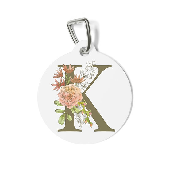 Personalized Floral Pet Tag - K