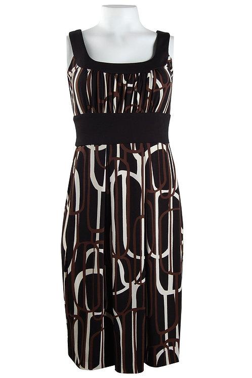 Donna Ricco Sleeveless Scoop Neck Pleat Skirt Printed Jersey Dress