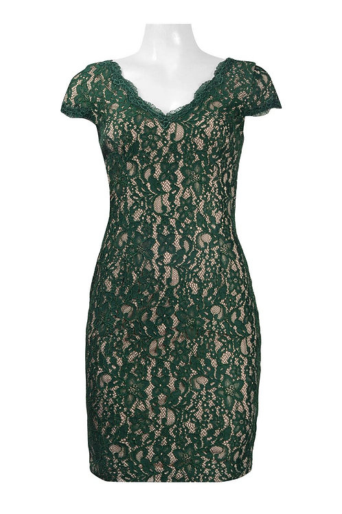 Adrianna Papell Scalloped V-Neck Short Sleeve Zipper Back Floral Lace