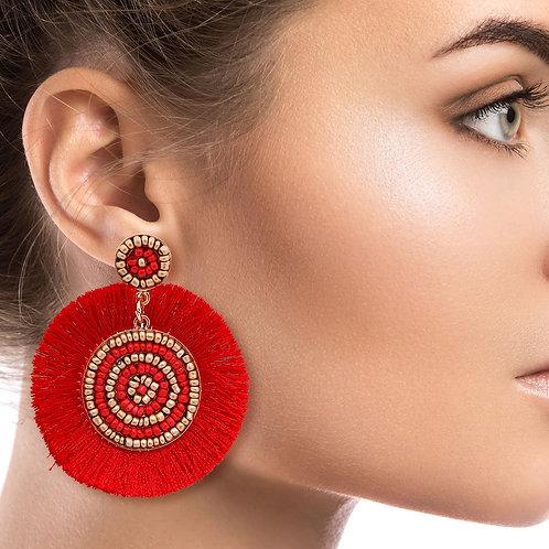 Red Silk Fan Tassel Earrings