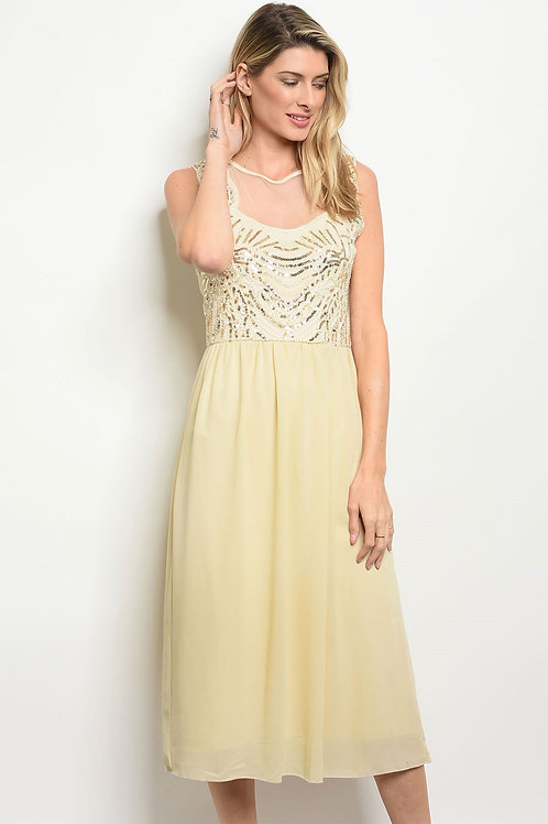Womens Tan Gold With Sequins Dress