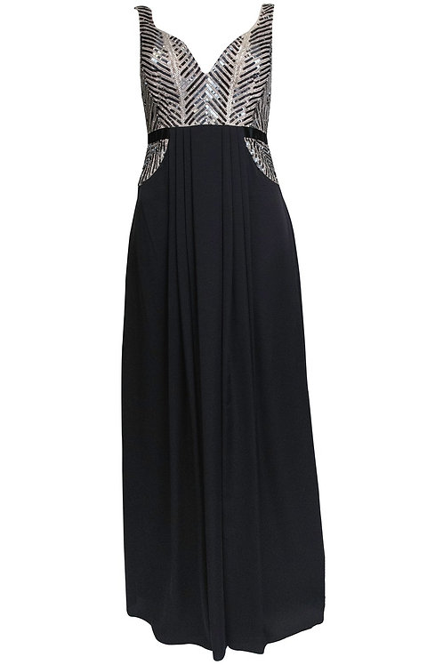 Aidan Mattox Chevron Sequin Pleated Evening Gown