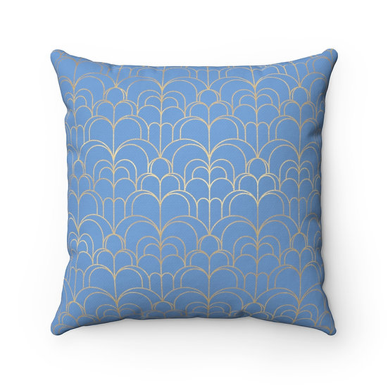 Gold Art Deco Waves/Danube Spun Polyester Square Pillow