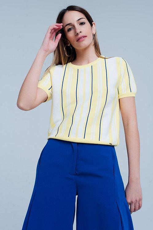 Yellow Striped Short Sleeve Sweater