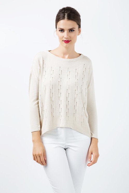 Long Sleeve Knit Top with Uneven Hemline
