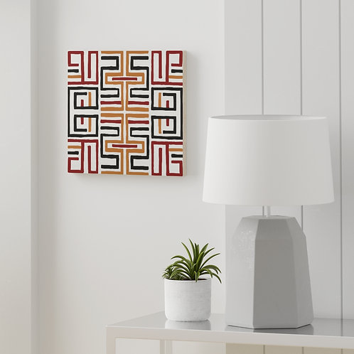 African pattern #3 Wood canvas