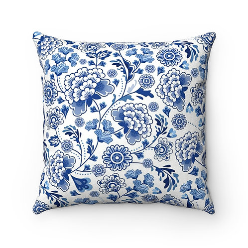 Blue China Faux Suede Square Pillow