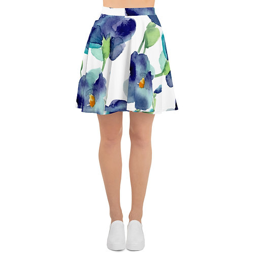 Big Blue Flowers Skater Skirt