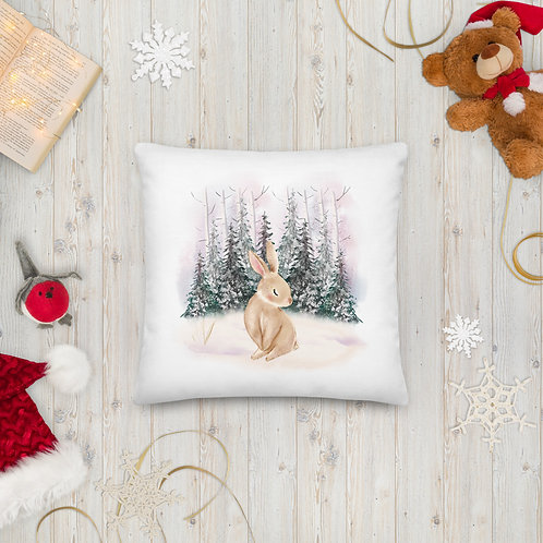 Bunny in the Snowy Forest Premium Pillow