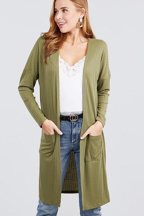 Olive - Long Sleeve Rib Cardigan w/ Pockets