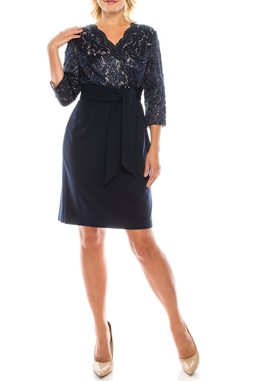 Alex Evenings Navy Nude Sequined Lace & Crepe Evening Dress
