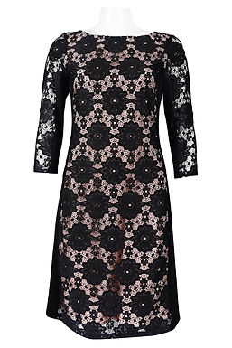 3/4 Sleeve Contrast Lining Lace Dress. Lined. By Nine West.