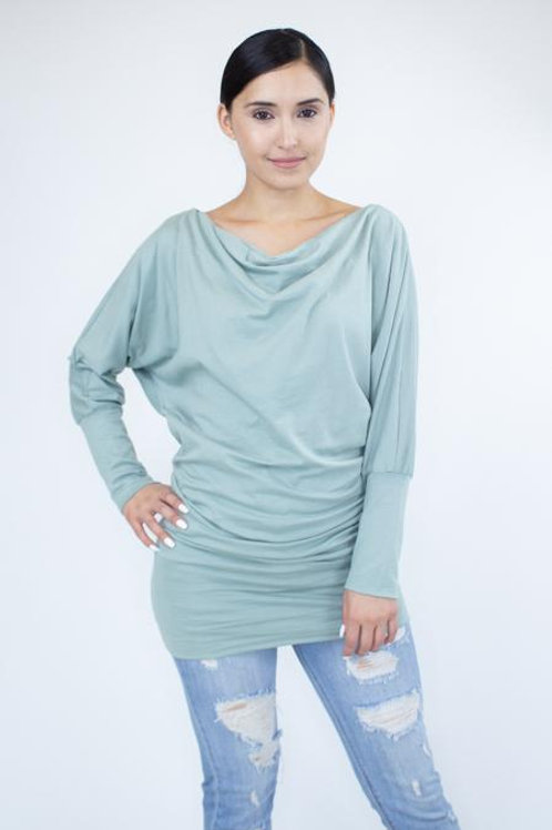 Cowl Neck Long Sleeve Solid Top - Sage