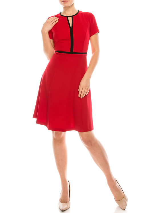 London Times Red Black Scuba Crepe A-Line Dress with Black Piping
