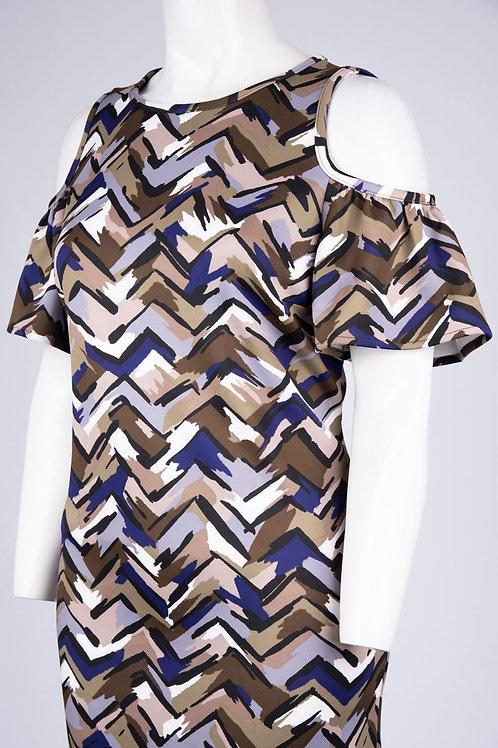 Nine West Cutout Shoulder Multi Color Brush Stroke Scuba Dress