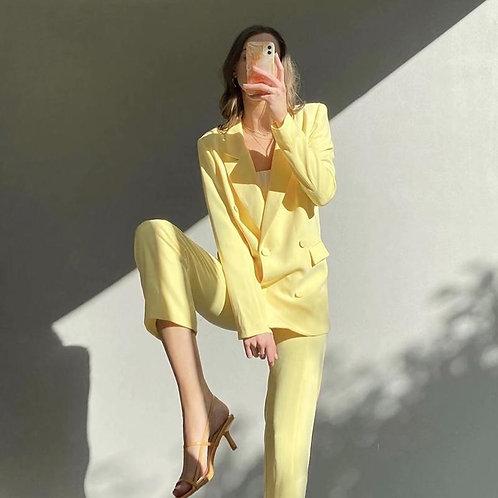 Yellow Blazer Suits Women Oversize Jacket and Hight Waist Long Pants