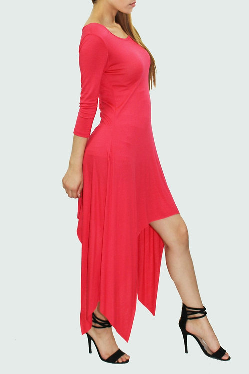 High low side tail solid dress Coral