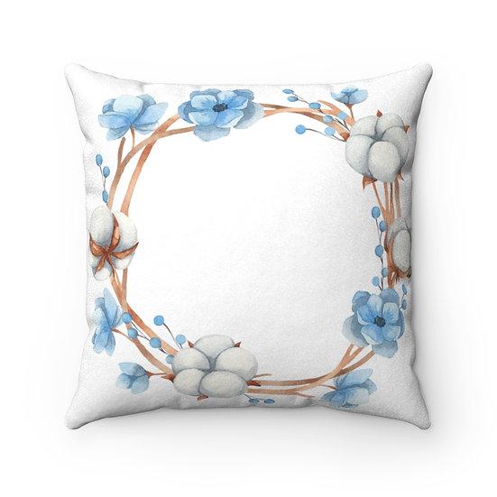 Blue Anemone/Cotton Wreath Faux Suede Square Pillow